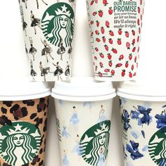 Starbucks cup decorated by Riley Sheehey with watercolors Starbucks Cup Drawing, Starbucks Cup Art, Starbucks Tumbler, Coffee Cup Art, Hot Coffee, Cup Decorating, Coffee Break, Diy Painting, Pattern Design