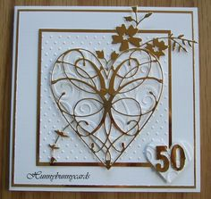 Golden wedding card, made with Memory Box La Rue Heart & Honeyblossom spray with Spellbinders Hearts and Cuttlebug Embossing Folders