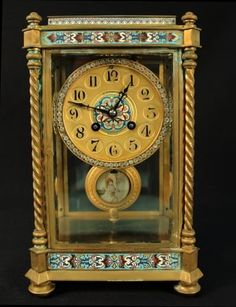 """A. STOWELL & CO., BOSTON BRASS & CLOISONNE CARRIAGE CLOCK WITH JEWELED FACE AND PORCELAIN FEMALE CENTER PLAQUE WITH ENGRAVING INSIDE """"PRESENTED TO HENRY C. BIGELOW BY THE OFFICERS OF THE CITIZENS MUTUAL INS. CO. COMMEMORATING HIS TWENTY YEARS OF SERVICE AS PRESIDENT 1896"""