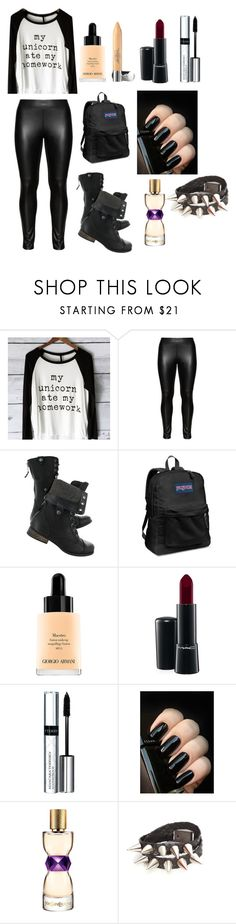 """22"" by riannamn ❤ liked on Polyvore featuring Studio, JanSport, Giorgio Armani, Laura Geller, MAC Cosmetics, By Terry and Yves Saint Laurent"