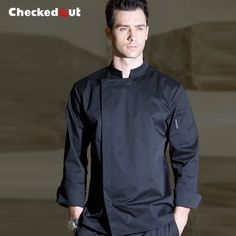 black color male chef coat chef uniform for restaurant kitchen Cleaning Uniform, Chef Dress, Restaurant Uniforms, Work Uniforms, Uniform Design, Europe Fashion, Work Suits, Work Wear, Chef Jackets