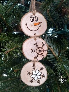 Wood Burned Snowman Christmas Ornaments Stacked Snowman   Etsy