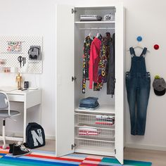 STUVA/FRITIDS lemari pakaian, putih/putih | IKEA Indonesia Clothes Rail, Hanging Clothes, Ikea Stuva, Blackboard Paint, Soft Closing Hinges, Frame Shelf, Kids Wardrobe, White Wardrobe, Smart Storage