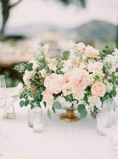 Every Last Blush Colored Floral is Tucked Inside This Saddlerock Ranch Affair – Wedding Centerpieces Wedding Flower Arrangements, Wedding Table Centerpieces, Flower Centerpieces, Wedding Decorations, Blush Centerpiece, Flowers Decoration, Centerpiece Ideas, Decor Wedding, Neutral Wedding Flowers