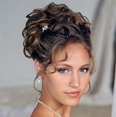 Brunette Curly Prom Updo