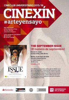 """""""The september issue"""""""", de R.J.Cutler. EEUU, 2009, dentro del ciclo del curso 2015/2016, dedicado al cine de #arteyensayo"""