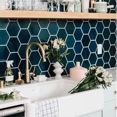 "2,603 Likes, 52 Comments - Lindye Galloway Interiors (@lindyegalloway) on Instagram: ""Hexagon tiles, rich jewel tones, brass details, summer flowers what more could a gal ask for?!…"""