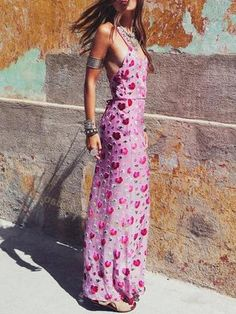 Floral Spaghetti-neck Split-front Backless V-neck Maxi Dress