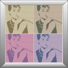 Audrey+Hepburn+Pop+Art+Cross+Stitch+Pattern+DMC+by+KnitSewMake,+£2.00