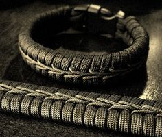 Center stitched paracord bracelets…since I'm repinning a link to an image, i THINK the center cord is just one piece wrapped down around two bars on alternating sides… looks cool!