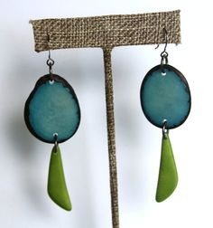 Earrings made from lightweight tagua nut slices in deep turqoise blue and apple green. https://www.etsy.com/listing/271981162/natural-tagua-earrings-in-turqoise-and