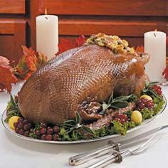 Goose with Corn Bread Stuffing Recipe-I pin this because it is THE BEST STUFFING EVER(I do not use Goose, but Turkey)!!!!!!!!!!!