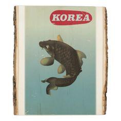 #fishing - #Korea Koi vintage style travel poster Wood Panel