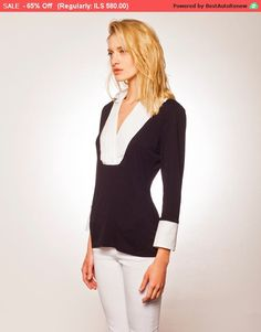 Sale Black and White Shirt Black and White by BRANTattire Black And White Shirt, Black Blouse, Black Tops, Collars For Women, V Neck Blouse, Collar Shirts, V Neck Tops, Long Sleeve Tops, Stretch Tops