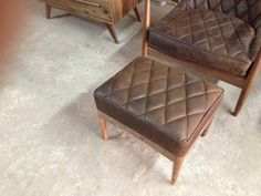 danish foot rest for chair in leather $600