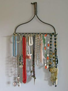 To keep your bracelets and necklaces nice and tidy, look no further than the garage. You would be surprised at how well a vintage rake head keeps necklaces untangled and hanging beautifully on the wall. Kevi Zupancic detached the handle and simply nailed the rake head to the wall to create a unique and rustic jewelry holder — for free!