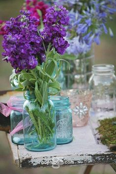 South Texas wedding decor, Mason Jars, Purple floral by Goen South