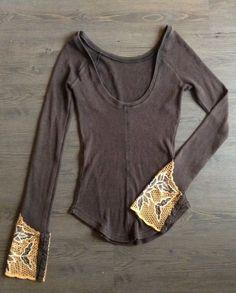 Free People Waffle Thermal Dip Back Long Sleeve Shirt Boho Womens Sz S / | eBay