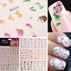 3D Colorful Flower Nail Art Stickers Water Transfer Nail Stickers