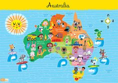 Kids Australia Map #World Thinking Day