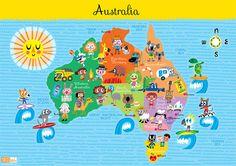 Kids Australia Map #World Thinking Day