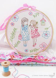 Baby girl nursery ideas, Christmas ideas, Embroidery kit - 2 Girls and a Secret - Crafts to make, Girl nursery wall décor, embroidery art