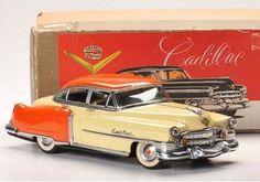 VINTAGE Japan 12 Inch Marusan Kosuge Tin Battery Op 1951 Cadillac Tin Toy Car #MarusanKosuge