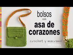 Bolsos a crochet con asa de corazones - Tejiendo Perú - YouTube