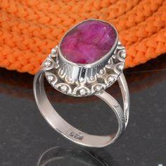 RUBY 925 SOLID STERLING SILVER DESIGNER RING 5.78g DJR6074 #Handmade #Ring
