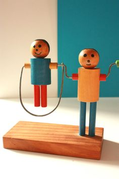 Vintage Wooden Toy Swing Girl and Boy by TriBecasVintage on Etsy