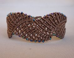 macrame blue ring bracelet with seed beads and by Knotify on Etsy