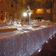 Luminous Fiber Optic Tablecloth for a rocking dinner party