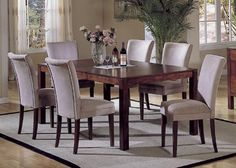 Elegant dining set    Homelegance 7pc Achillea Collection Solid Wood Dining Table & 6 Parson Chairs Set  From Sears.com