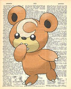 Teddiursa Pokemon Dictionary Art Print by MollyMuffinsPrints
