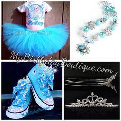 Frozen Elsa birthday outfit bundle - Elsa tutu set, Elsa birthday Swarovski converse, bubblegum necklace and tiara