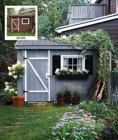 Revive The Exterior of a Garden Shed as a backdrop for backyard entertaining