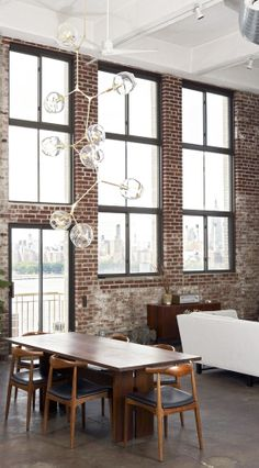 = red brick and Lindsey Adelman lighting