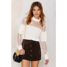 Nasty Gal Lace to the Finish Blouse ($68) ❤ liked on Polyvore featuring tops, blouses, ivory, lacy blouses, ivory lace top, ivory lace blouse, pleated blouse y lacy tops
