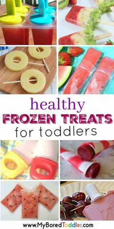 Healthy Frozen Treats for Toddlers - My Bored Toddler Fruit Recipes For Kids, Kids Cooking Recipes, Healthy Snacks For Kids, Baby Food Recipes, Kids Meals, Cooking Games, Easy Cooking, Healthy Lunches, Family Recipes