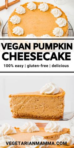Vegan Pumpkin Cheesecake is luscious, creamy, and so easy! Make this amazing vegan dessert for holiday dinners packed with pumpkin spice flavor. Vegan Pumpkin Cheesecake Recipe, Easy No Bake Cheesecake, Cheesecake Recipes, Homemade Desserts, Healthy Dessert Recipes, Vegan Desserts, Best Pumpkin Pie, Pumpkin Spice, Cupcakes