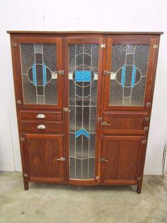 C37033 Fantastic Vintage RETRO Jarrah Blue Leadlight Kitchen Cabinet Dresser