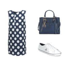 Simple, chic et sportive à la fois : c'est possible ! Ce look comporte un sac à main Moony Mood, une robe à pois Vero Moda et une paire de tennis en toile Le coq Sportif. #fashion #outfit