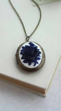 Large Carved Navy Blue, Dark Blue Rose Flower Cameo Locket Necklace. For Mom. Statement Necklace. Best Friends. Blue and white. By Marolsha.