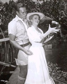 Charlton Heston and Eleanor Parker in The Naked Jungle