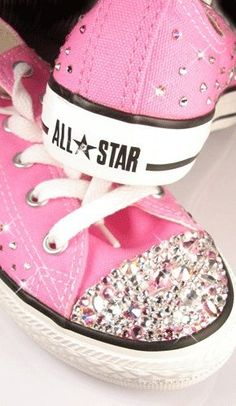 converse #converse #pink #sparkles #shoes girliest thing I've seen in my entire life