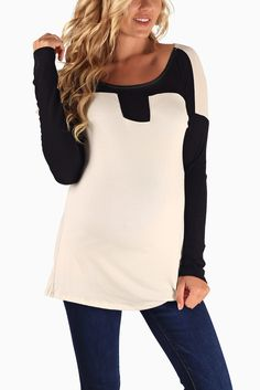 White-Black-Colorblock-Long-Sleeve-Maternity-Top