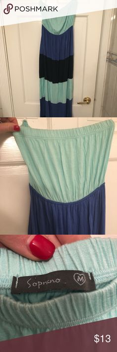 Tube top sun dress Blue striped tube top sun dress! Can also be used as a cover up Dresses Strapless