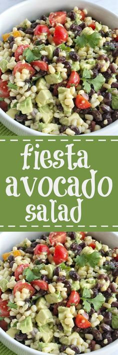 Fiesta avocado salad is loaded with avocados, corn, black beans, tomatoes, red onion, and cilantro covered in an easy citrus