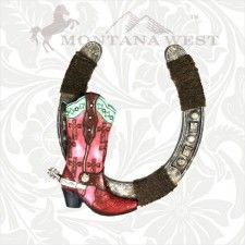 Montana West Boot & Horseshoe Wall Hanging Pink - Cowgirl Bling Ranch, LLC
