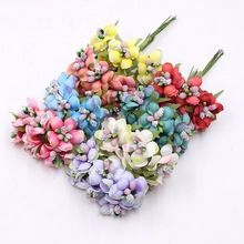 6pcs 3cm Silk Stamens Chrysanthemum Handmade Artificial Flower Bouquet Wedding Decoration DIY Wreath Scissors Crafts Fake Flower(China)